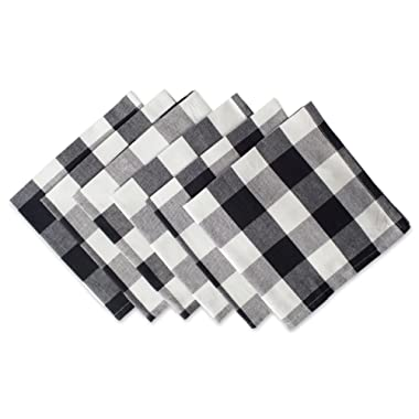 DII Cotton Buffalo Check Oversized Basic Cloth Napkin for Everyday Place Settings, Farmhouse Décor, Family Dinners, BBQ's, and Holidays (20x20 , Set of 6) Black & White