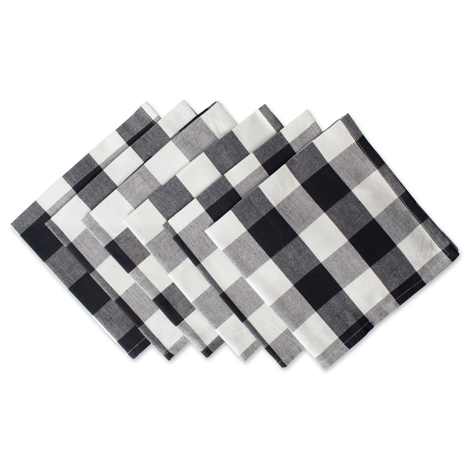 DII Cotton Buffalo Check Oversized Basic Cloth Napkin for Everyday Place Settings, Farmhouse Décor, Family Dinners, BBQ's, and Holidays (20x20'', Set of 6) Black & White