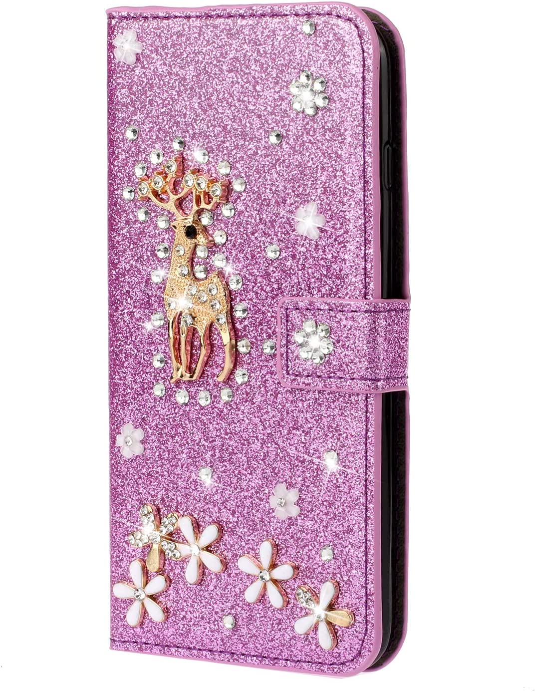 Cfrau Glitter Flip Case with Black Stylus for iPhone 11 Pro 5.8 2019,Luxury Diamond 3D Crystal Flower Cute Deer Magnetic Wallet Leather Stand Case for iPhone 11 Pro 5.8 2019,Pink
