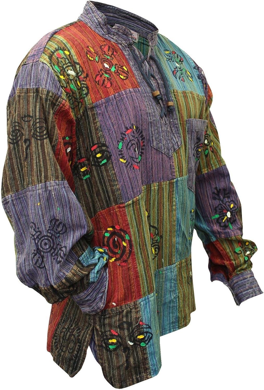 SHOPOHOLIC FASHION Camisa hippie de piedra para hombre