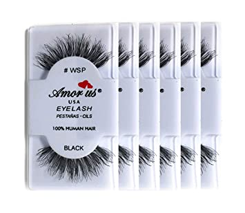 17370ccb722 Amazon.com: Amorus 100% Human Hair False Eyelashes #WSP - Black - (6 ...
