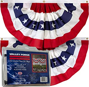 Valley Forge American Fan Flag 1.5' x 3' Polycotton Sentinel 100% Made in U.S.A. Stars and Stripes Bunting Canvas Header Brass Grommets 2-Pack Model PMF-2-T