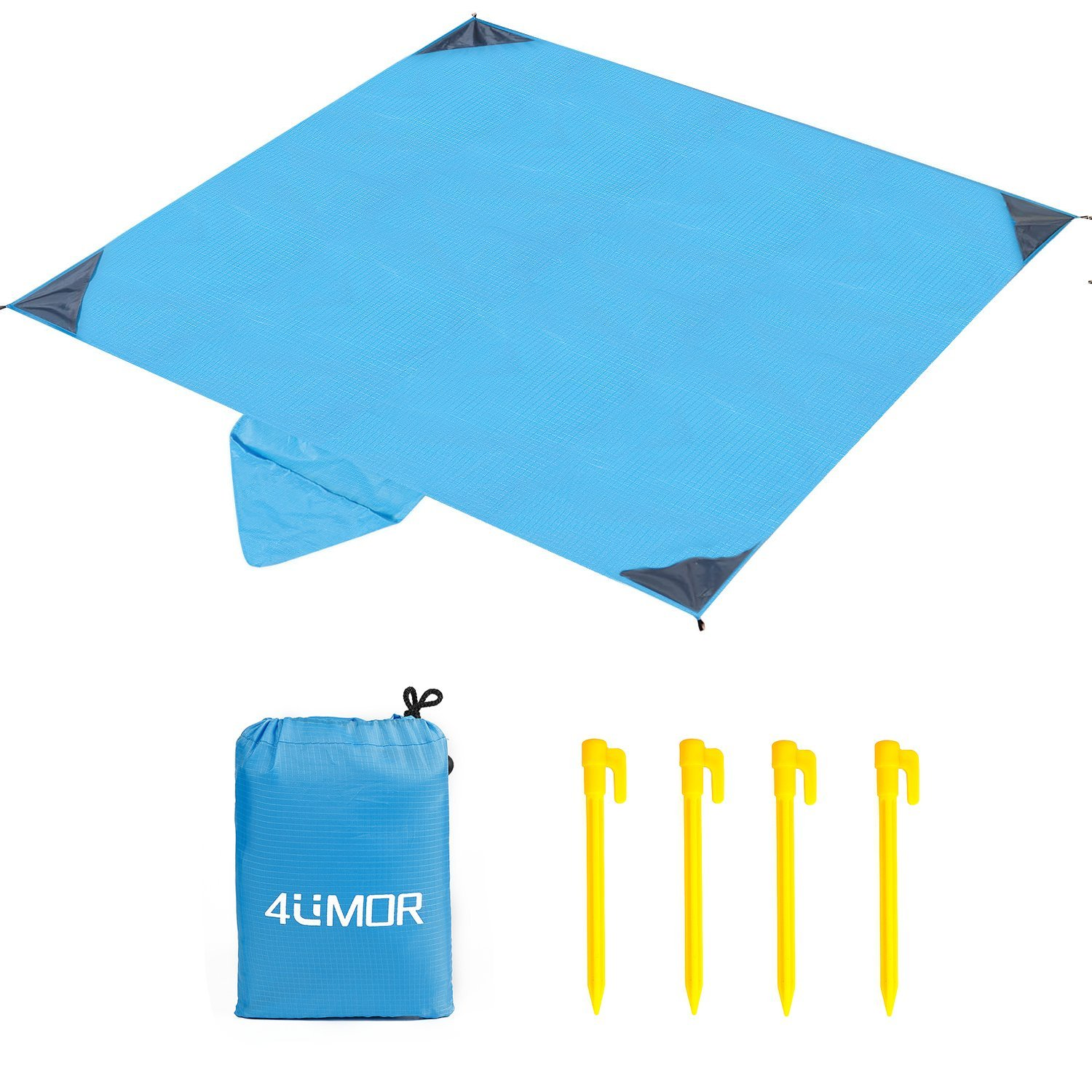 4UMOR Picnic Blanket, Portable Lightweight Waterproof Sandproof Pocket Beach Blanket - 140cm x 200cm Large Picnic Mat and for Outdoor Travel Camping Hiking Activities (Black)
