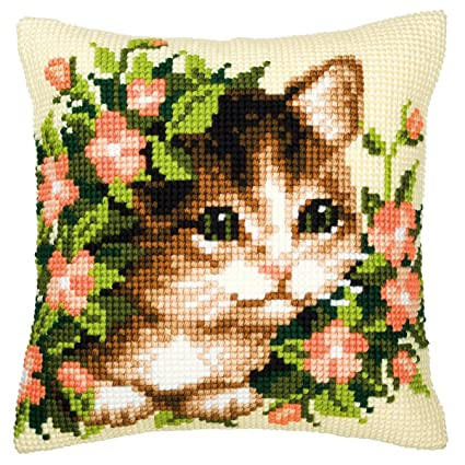 Amazon.com: Vervaco Kitten and Flowers Cross Stitch Cushion ...