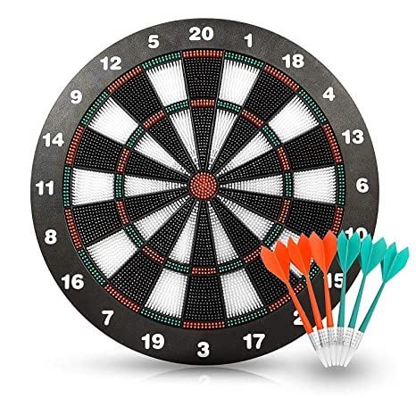 graphic about Printable Dart Board called HagieNu Security Comfortable Suggestion Dart Board Recreation Preset Darts Sport Dart Board Fastened No Problems towards Children- 17 Inch Rubber Dart Board with 6 Tender Suggestion Darts for Little ones and