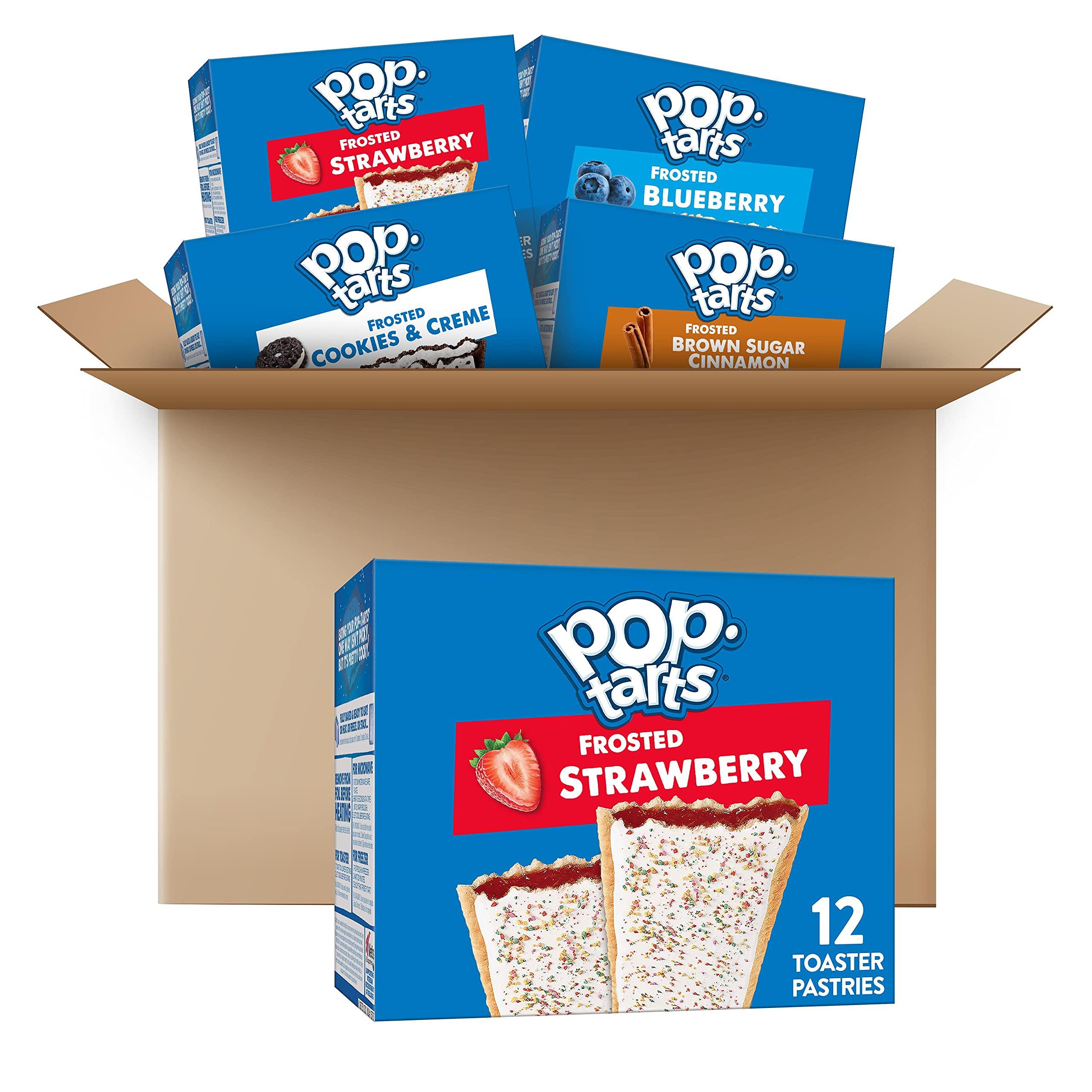 Pop-Tarts Toaster Pastries, 5 Flavor Variety Pack, Breakfast Foods, Fun Snacks for Kids, 5 Boxes (60 Pop-Tarts)
