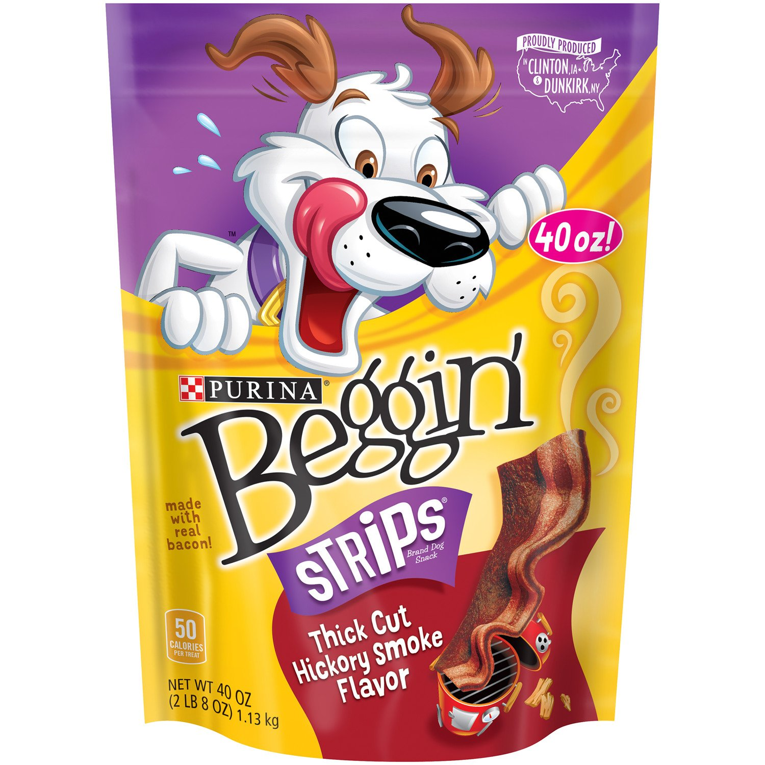 Purina Beggin Strips Thick Cut Hickory Smoke Flavor Dog Treats – 40 Oz. Pouch