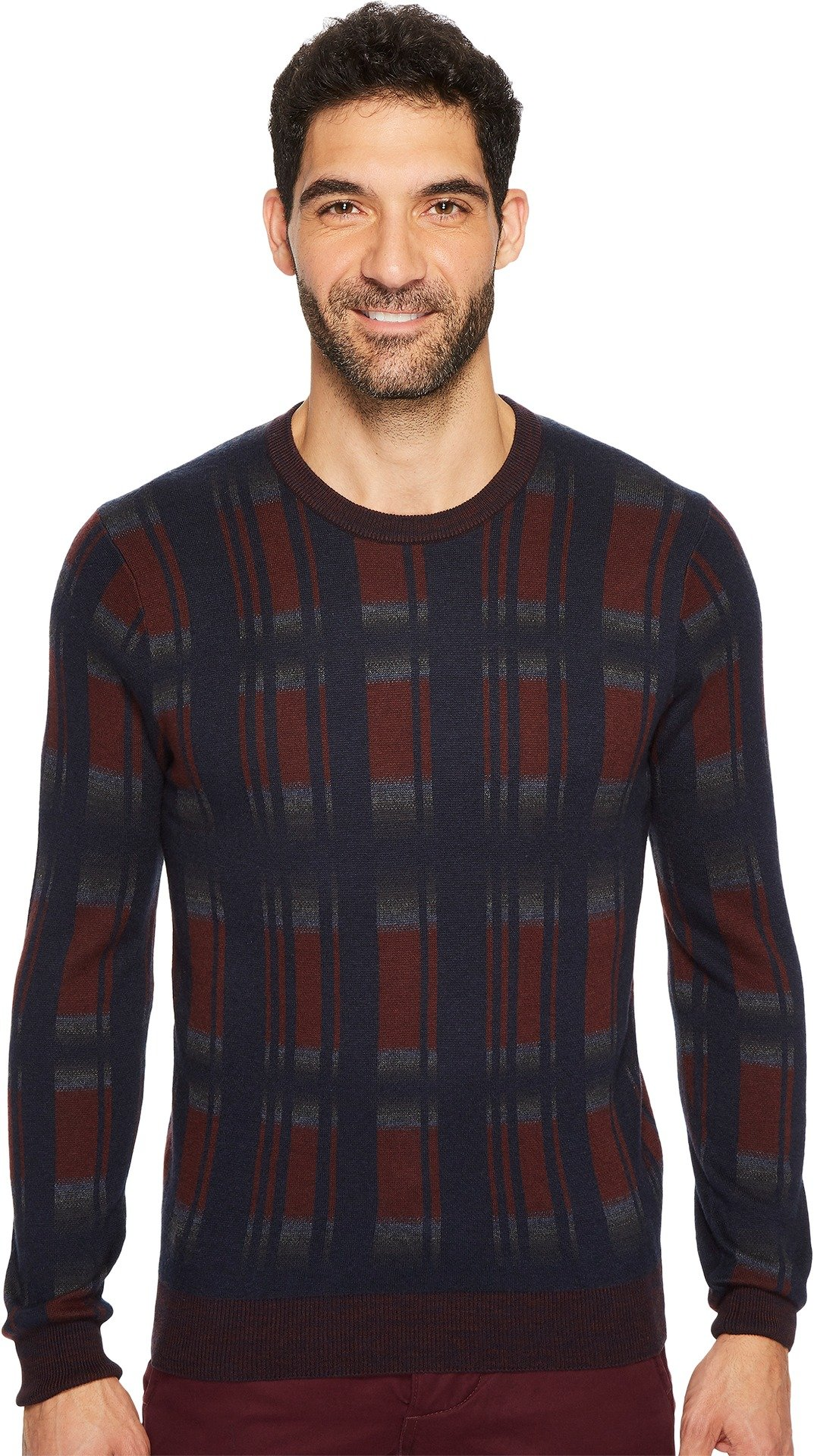 Perry Ellis Men's Winter Cotton Plaid Crew Sweater, Royal Black Cherry, Small