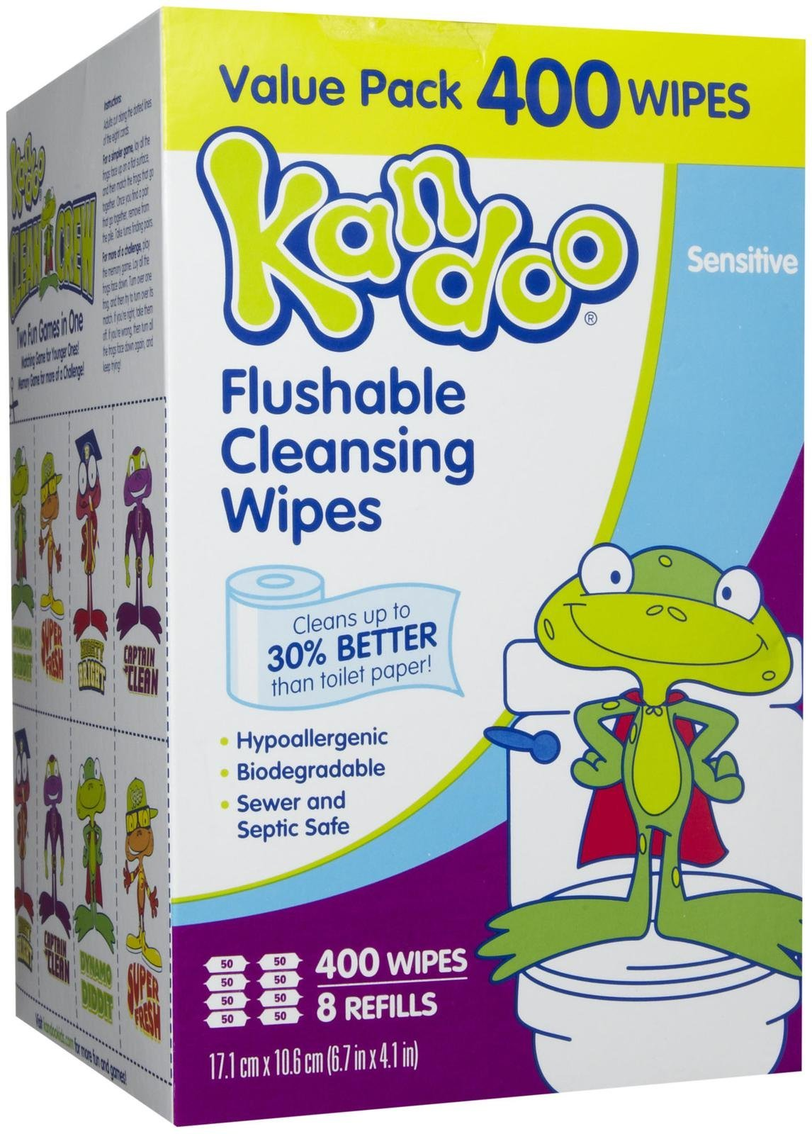 Pampers Kandoo Flushable Wipes Sensitive 400 ct 8 pk