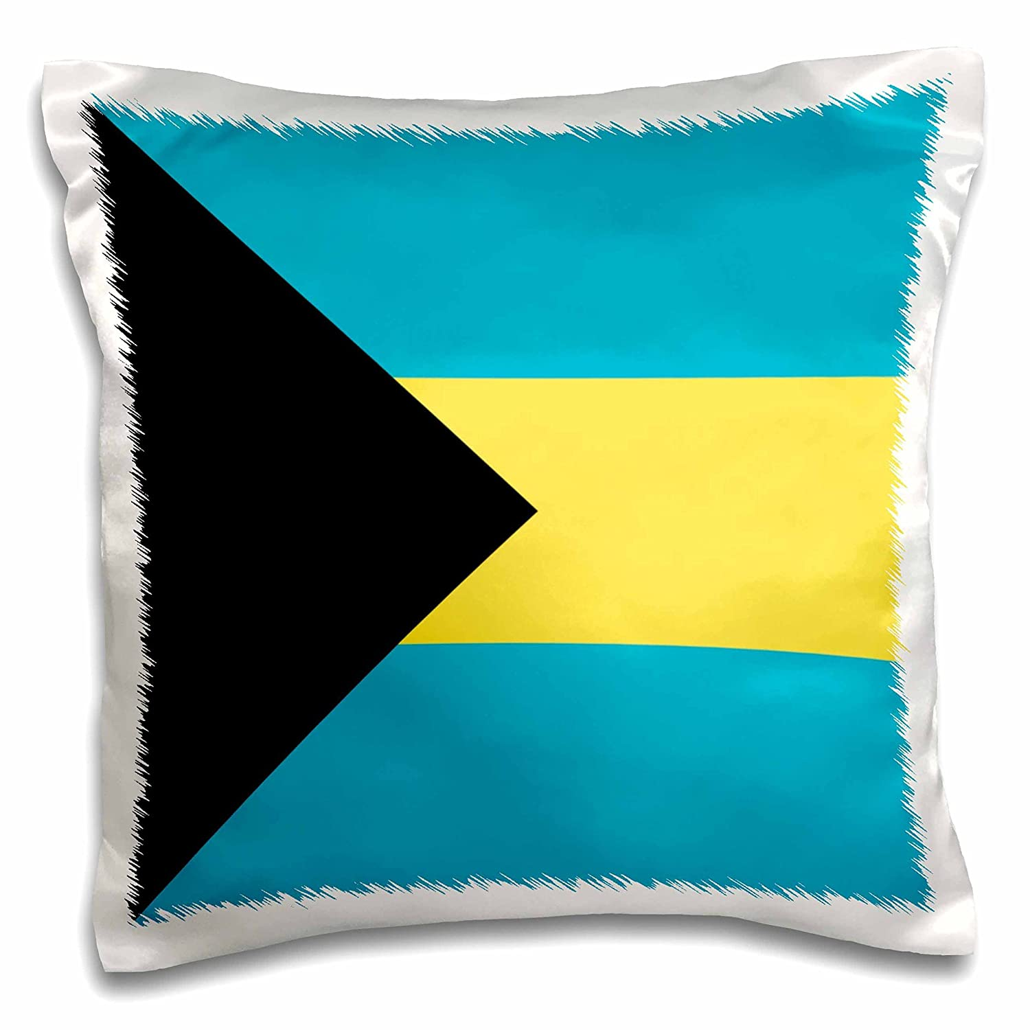3D Rose Flag of The Bahamas Islands Bahamian Blue Yellow Gold Stripes Black Triangle Country World Souvenir Design Pillowcase 16 x 16
