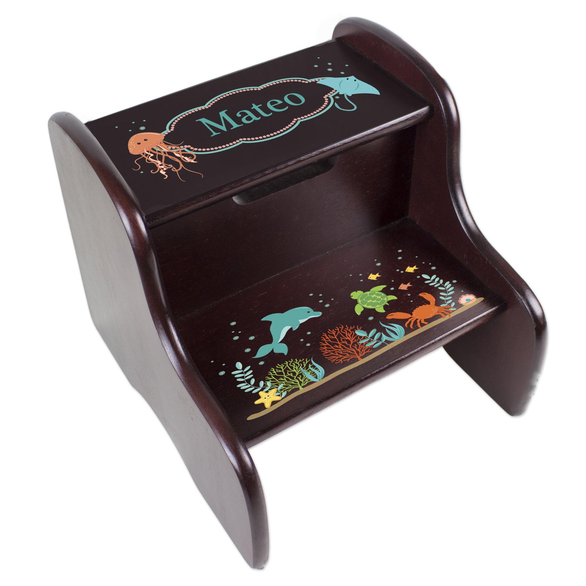 Personalized Espresso Sealife Step Stool