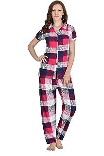 deda12d7952 Adonia Women s Check Print Pink Nightsuit Set