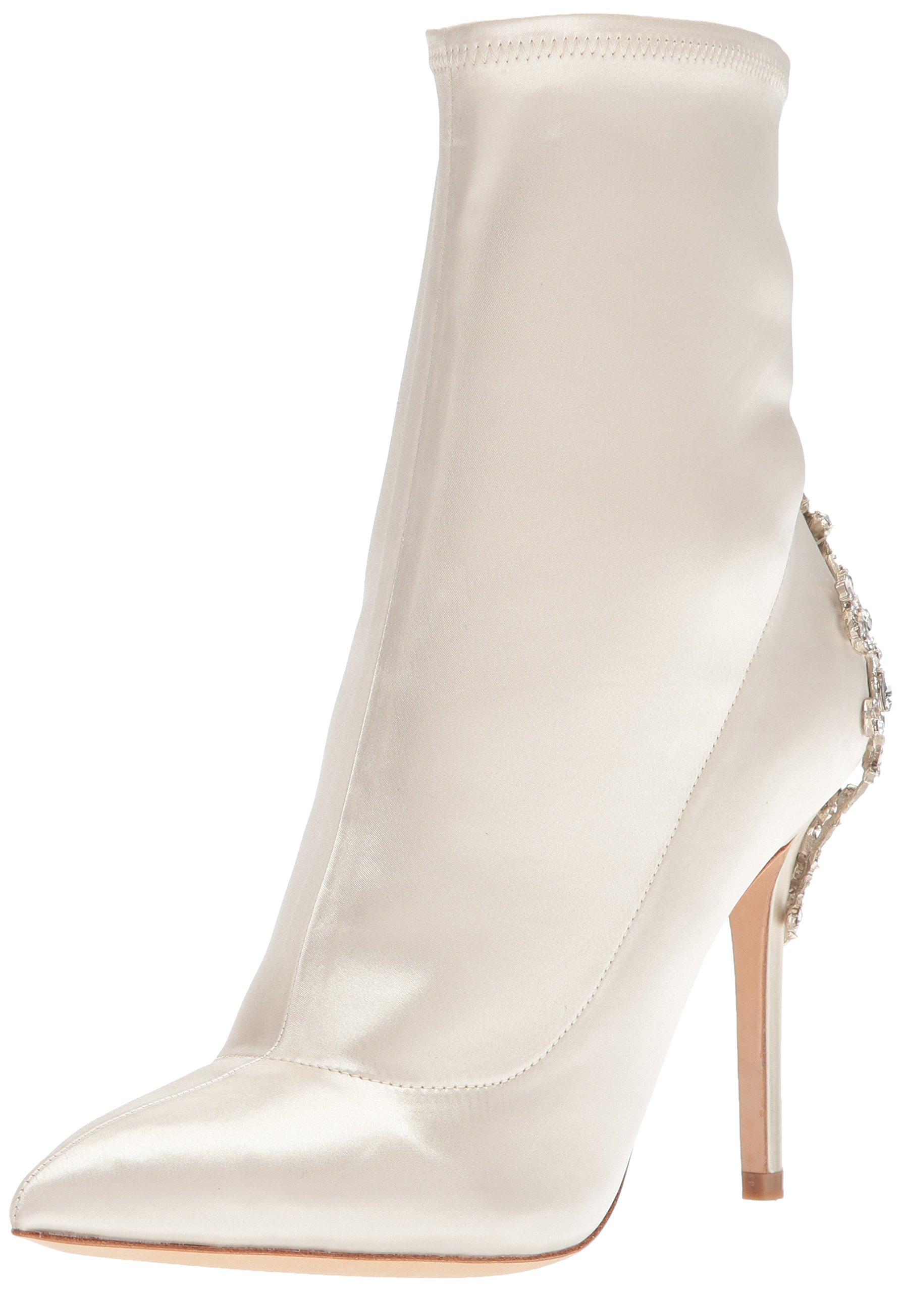 Badgley Mischka Women's Meg Ankle Boot, Ivory, 6 M US