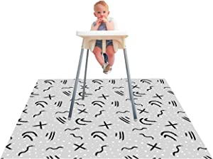 Paw Legend Washable Highchair Splat Mat for Floor- Anti-Slip Splash Mess Mat(53'' X 53'')-Under Highchair Mat-Food Catcher Art Craft Leak Proof Mat (Doodle)