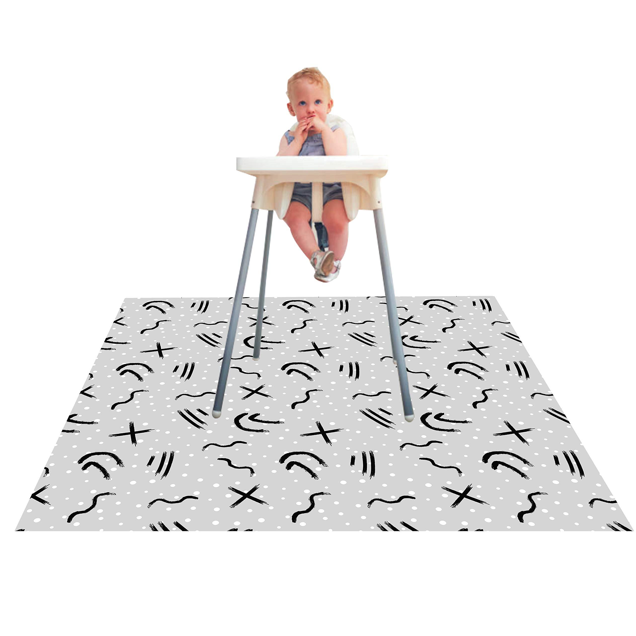 Paw Legend Washable Highchair Splat Mat for Floor- Anti-Slip Splash Mess Mat(53'' X 53'')-Under Highchair Mat-Food Catcher Art Craft Leak Proof Mat (Doodle) by Paw Legend