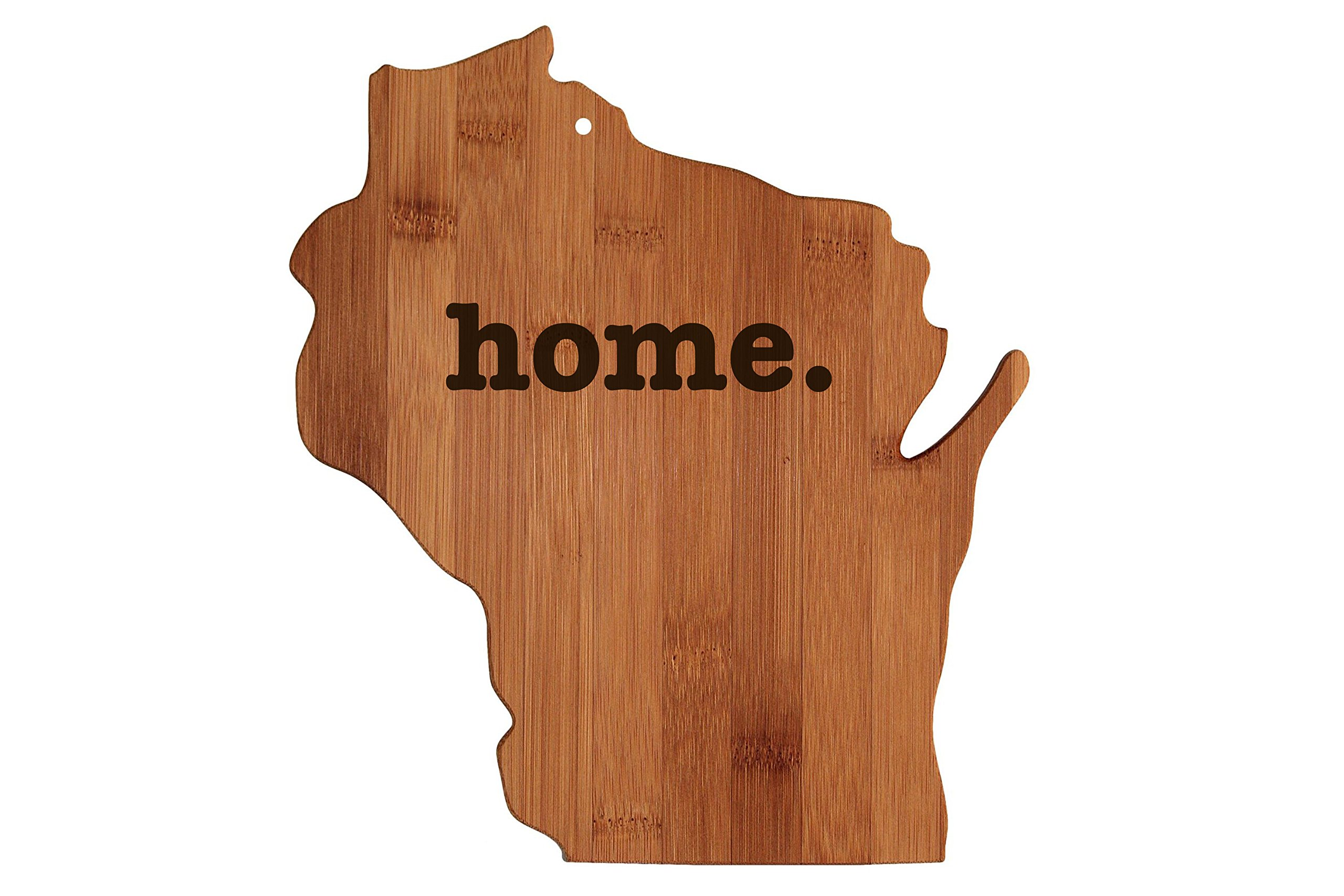 Wisconsin State Shaped Bamboo Wood Cutting Board Engraved home. Personalized For New Family Home Housewarming Wedding Moving Gift