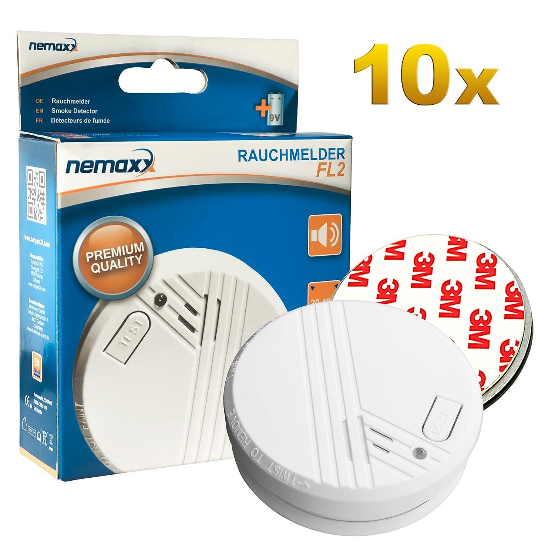 10x Nemaxx Detector de Humo FL2 - según la Norma EN 14604 con tecnología fotoeléctrica Sensible! + 10x Nemaxx Fijación mágnetica: Amazon.es: Bricolaje y ...
