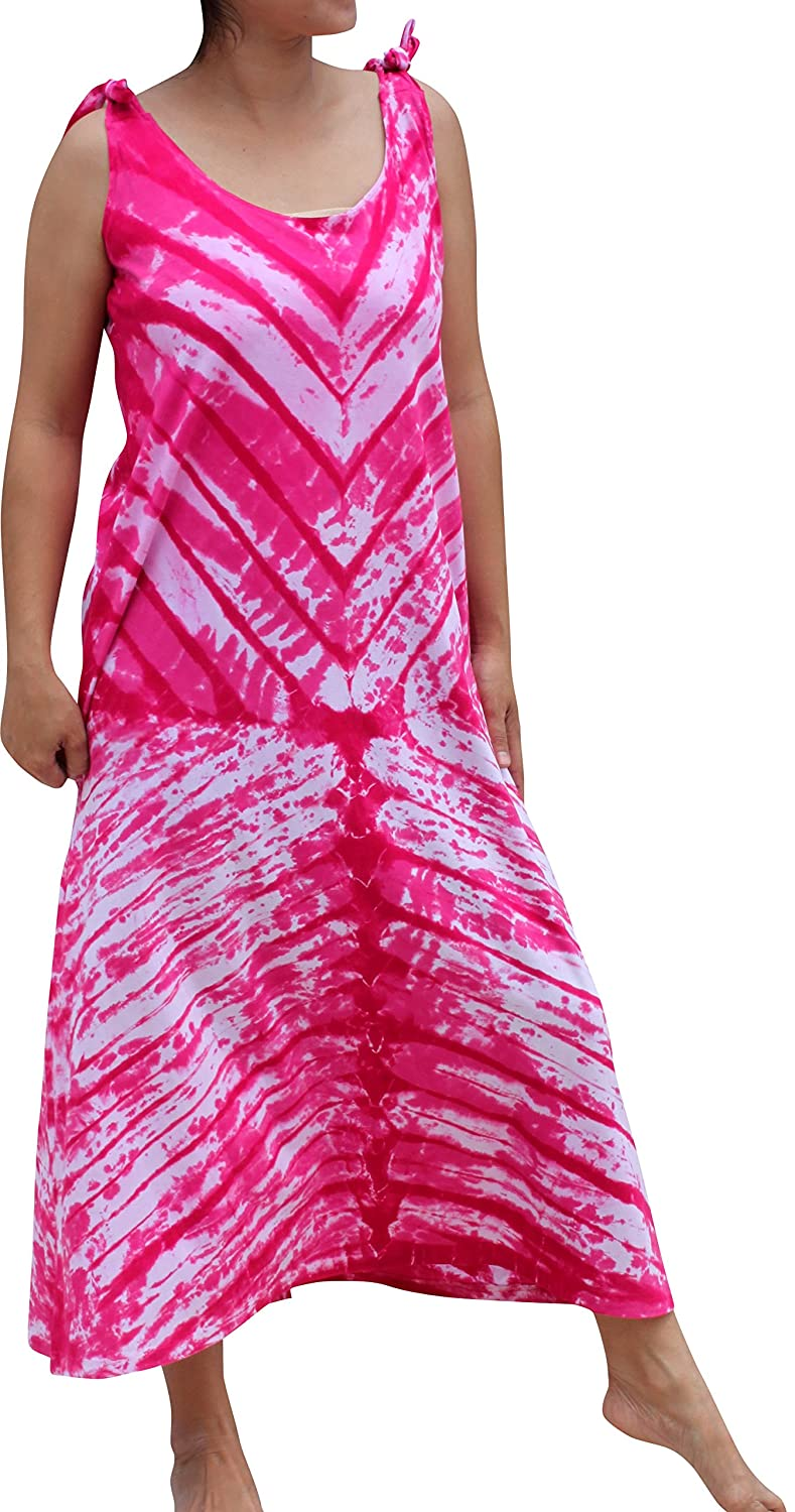 Deep Pink Full Funk Psychedelic Woven Cotton Tie Dyed Dress with Adjustable Shoulder Straps