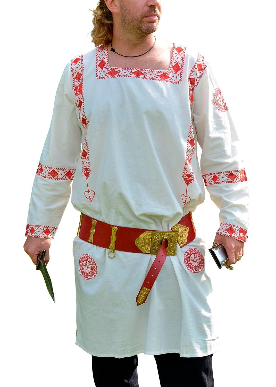 Camiseta de manga larga-túnica de la romana, rojo leontopodio, 100% algodón - mani cata - representación - juegos de rol Battle Merchant