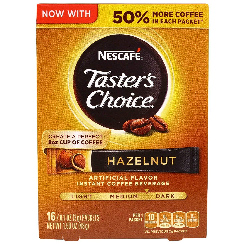 Nescafe Taster's Choice Hazelnut Medium Dark Roast Instant Coffee, 16 ct