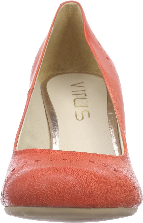 Virus 25525 - Zapatos de tacón Cerrados de Cuero Mujer, Color Rojo, Talla 38: Amazon.es: Zapatos y complementos