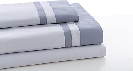 ESTELA - Juego de sábanas Lisos Marbella Color Perla-Acero - Cama de 150 cm (3 Piezas) - 100% Algodón - 200 Hilos - con Bajera Ajustable de 30 cm. de Altura.: Amazon.es: Hogar