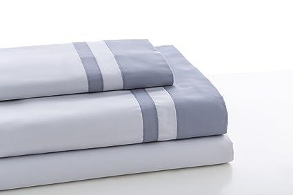 ESTELA - Juego de sábanas Lisos Marbella Color Perla-Acero - Cama de 160 cm