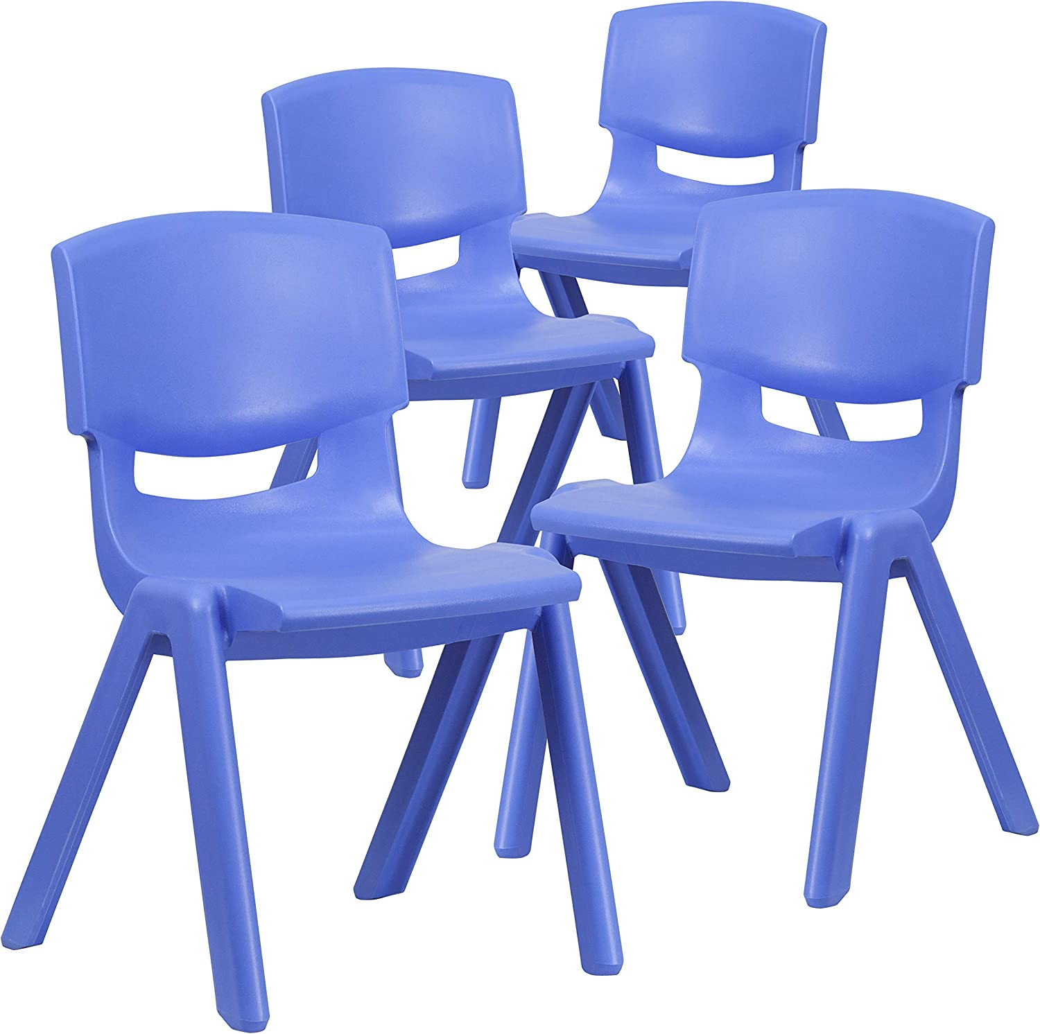 Flash Furniture 4 Pack Blue Plastic Stackable School Chair with 15.5'' Seat Height