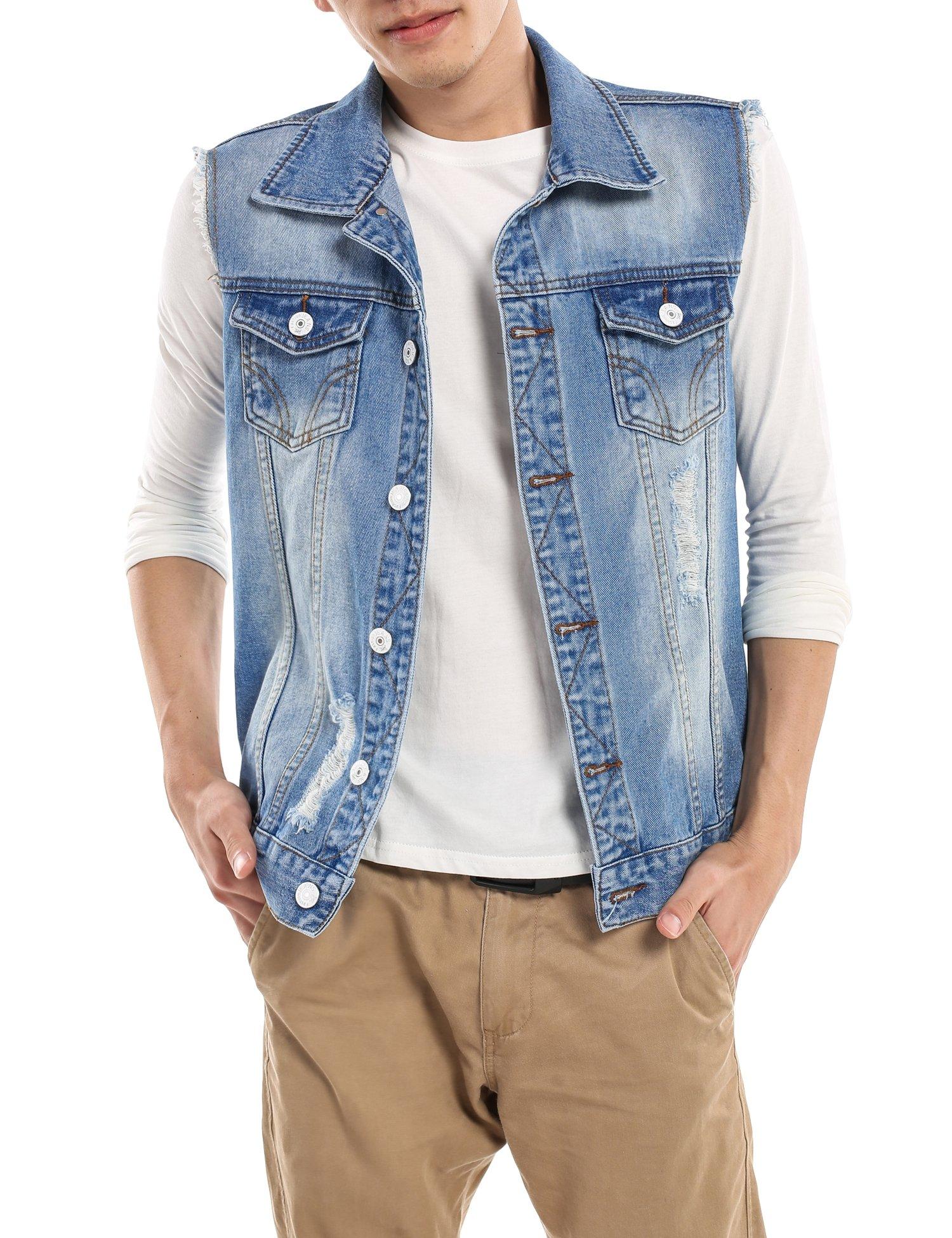 COOFANDY Men's Fashion Sleeveless Lapel Denim Vest Jacket,Light Blue,Large