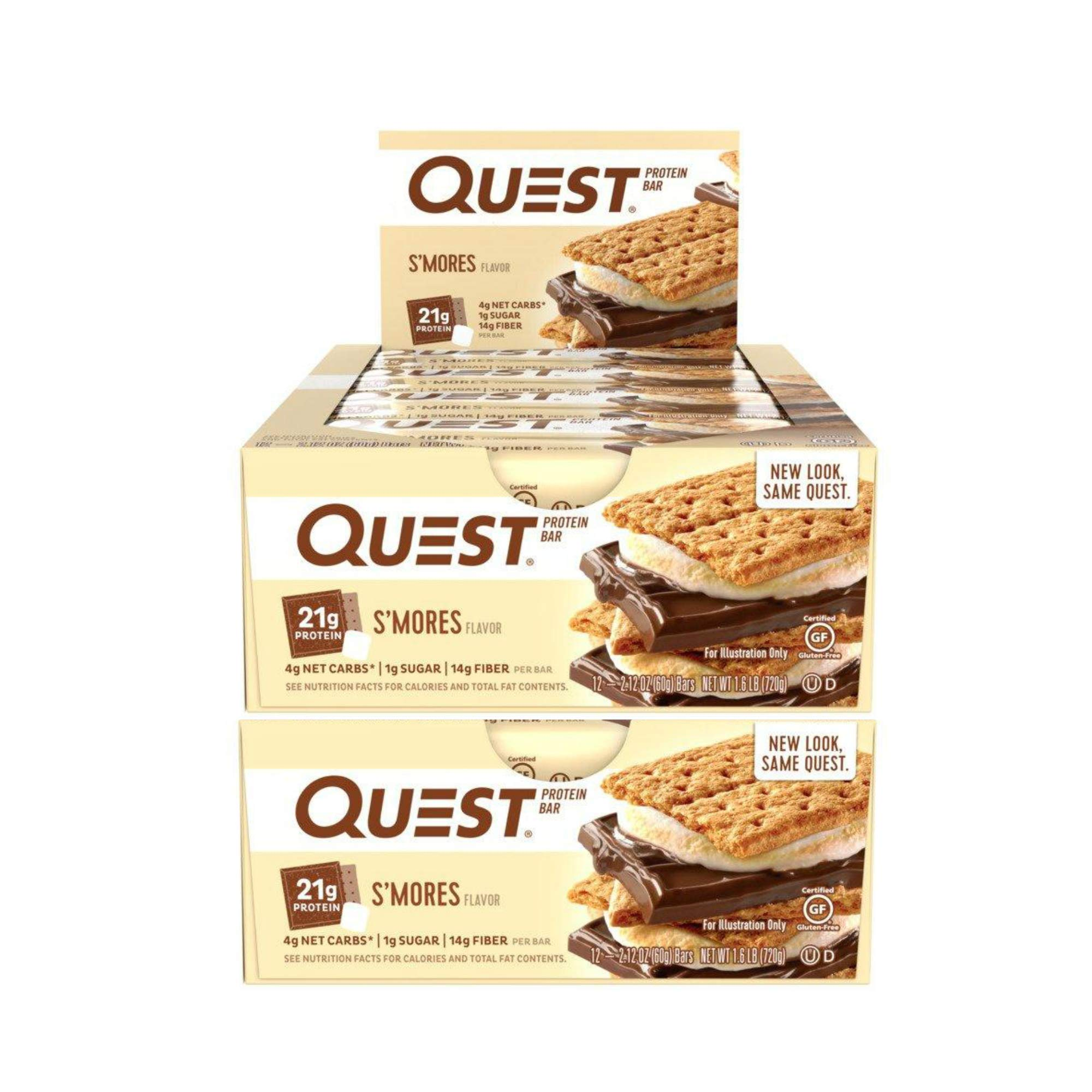 Quest Nutrition Protein Bar S'Mores. Low Carb Meal Replacement Bar with 20 gram Protein. High Fiber, Gluten-Free (24 Count) by Quest Nutrition