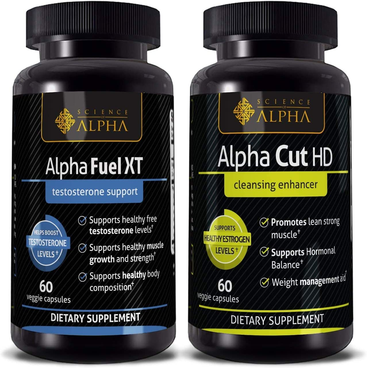 Alpha Fuel XT Alpha Cut HD Combo Pack – Boost Testosterone Naturally, Build Muscle, Shed Fat Fast