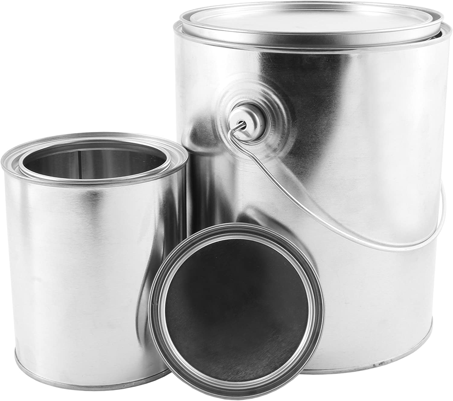1 Gallon Empty Paint Can + 1 Quart Empty Paint Can (Combo 2-Pack); Unlined Metal Cans w/Lids
