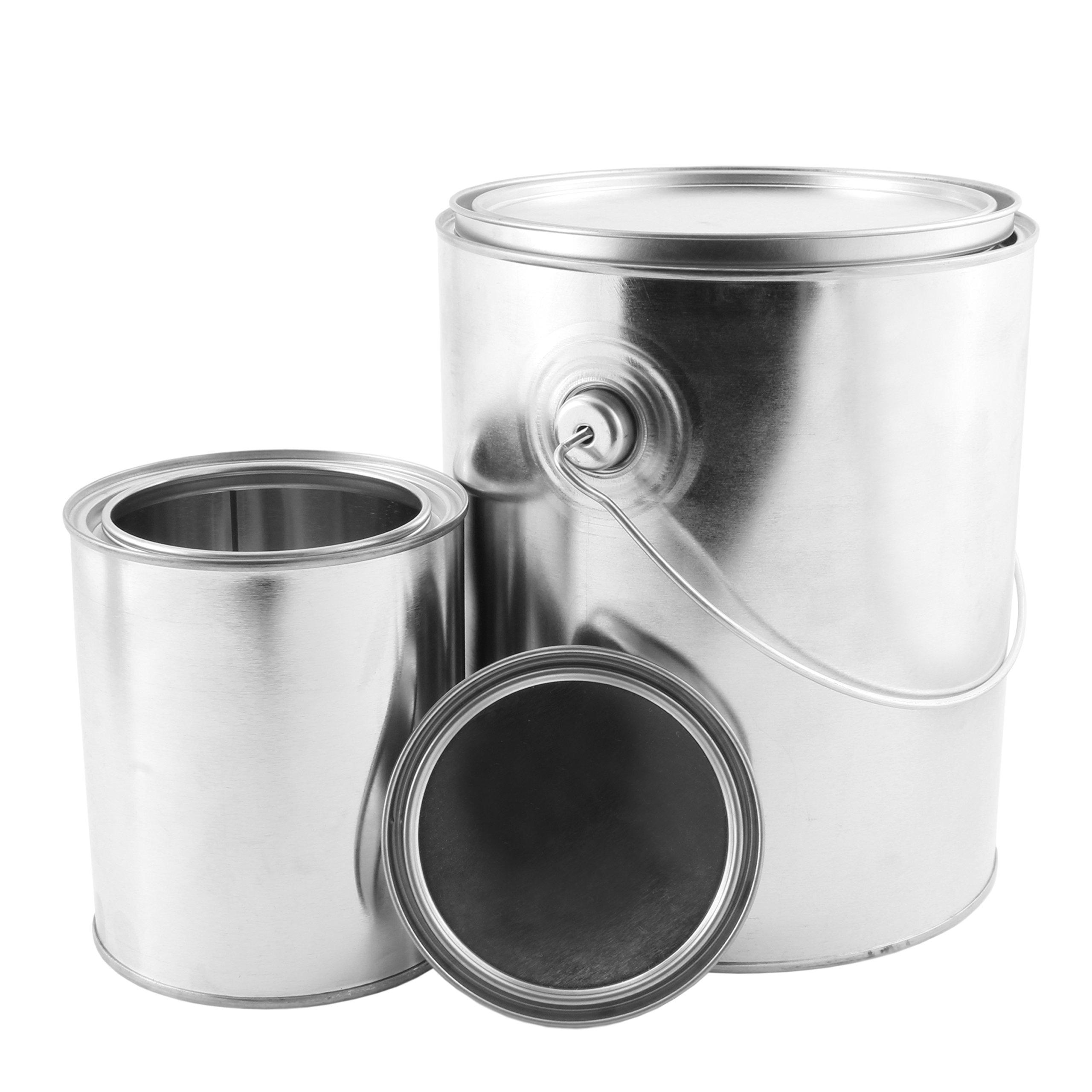1 Gallon Empty Paint Can + 1 Quart Empty Paint Can (Combo 2-Pack); Unlined Metal Cans w/Lids by Cornucopia Brands