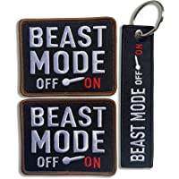 eBateck Funny Morale Patch, Tactical Patches Embroidered with Keychain, Hook&Loop (Beast Mode On)