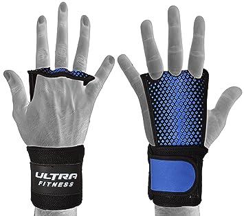 ULTRAFITNESS Protector de palma de piel texturizada con puño de muñeca para gimnasia, flexiones de