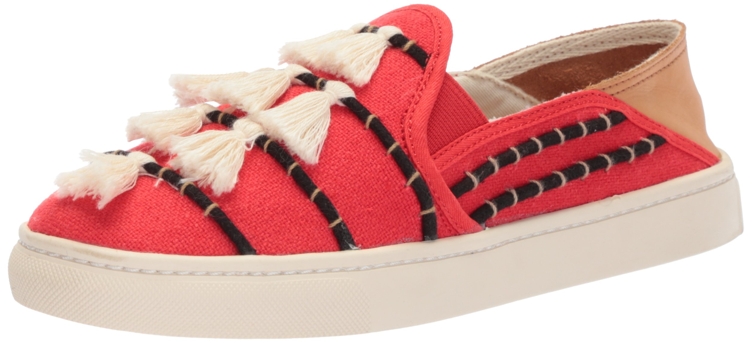 Soludos Women's Tassel Slip Sneaker, Red/Beige, 8 B US