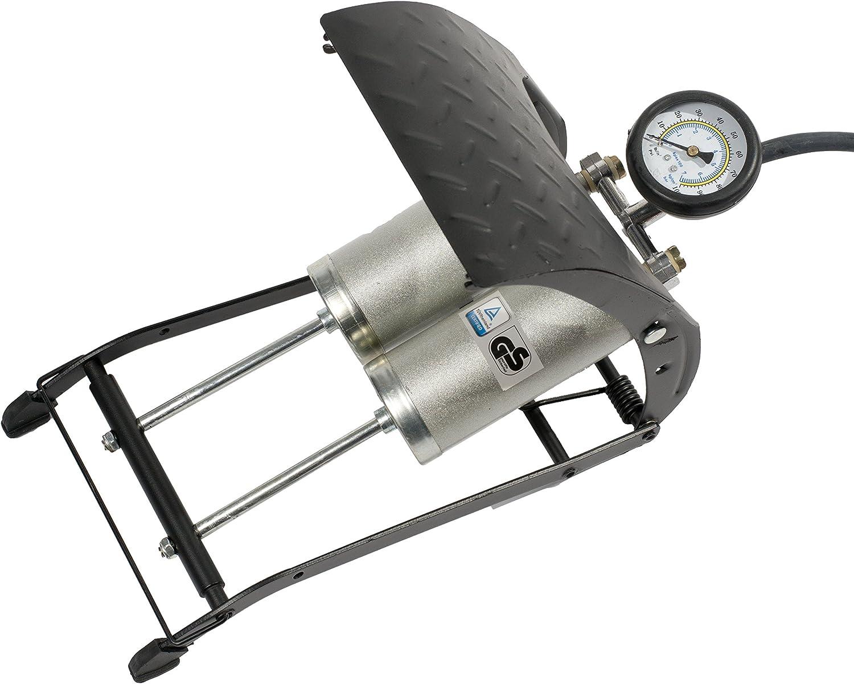 4CARS Pompa a pedale bicilindrico con manometro e regolare ugelli