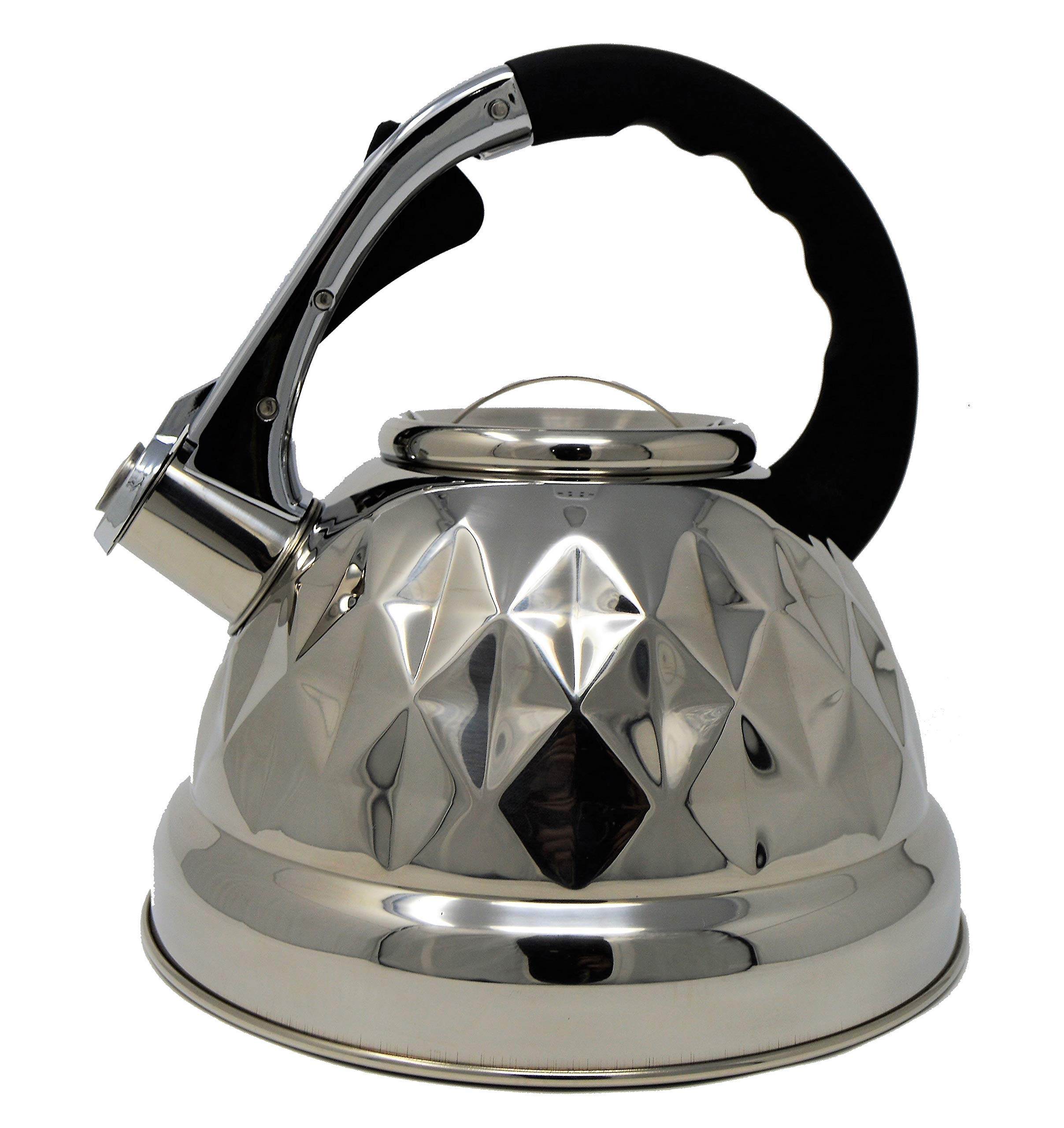 Black Whistling Tea Kettle Pot - Aviation Grade Stainless Steel For All Stovetops With Layered Capsule Bottom For Faster Water Boiling When Preparing English Tea or Coffee, 3.2 Liters