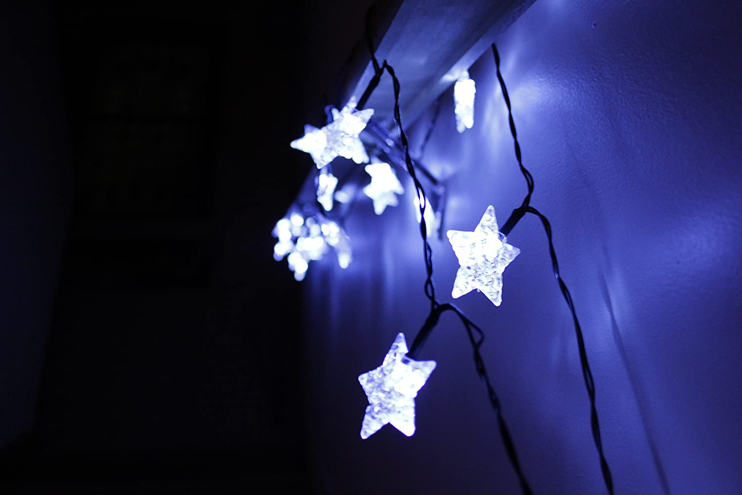 led star lights string large white star shaped covers solar energy battery operated light up holiday christmas tree and outdoor hanging rope - Christmas Star Light Outdoor