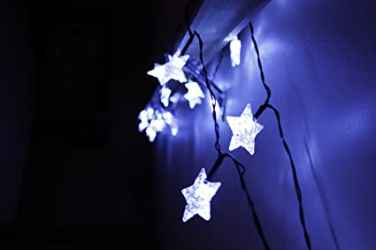 led star lights string large white star shaped covers solar energy battery operated