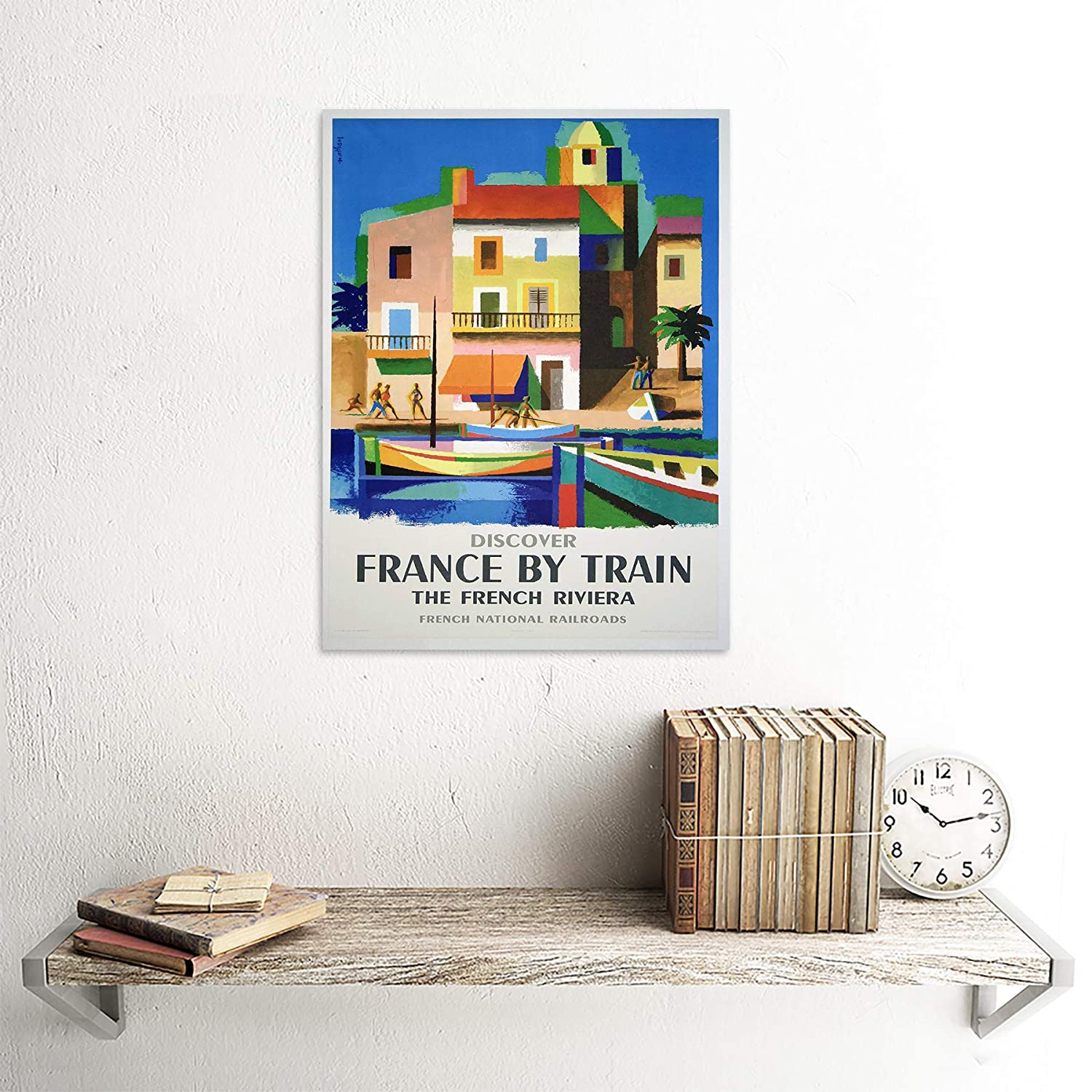 TRAVEL FRANCE TRAIN RAILWAY RIVIERA FRENCH RAILROAD BOAT VINTAGE POSTER 970PY