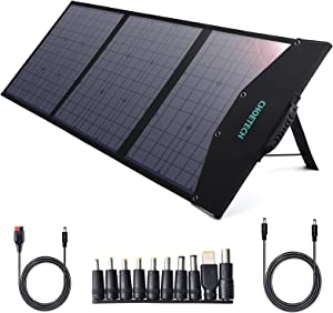 CHOETECH 120W Solar Panel, Portable Solar Panel for Power Station Generator, Foldable Solar Charger with DC Output and QC/PD 3.0 Ports Waterproof for Summer Outdoor Camping Van RV Home iPhone iPad