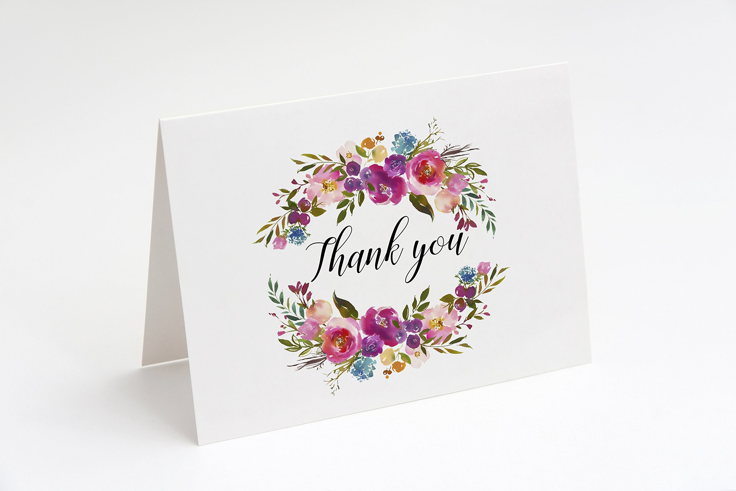 Thank You Cards, Thank You Notes, 24 Floral Thank You Cards With Envelopes, Bohemian Thank You Cards