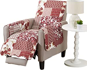 Great Bay Home Patchwork Scalloped Printed Furniture Protector. Stain Resistant Recliner Cover. (Recliner, Burgundy)
