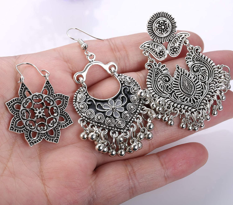 SET necklace and stud earrings-Mandala Bohemian stud earrings silver grey stainless steel