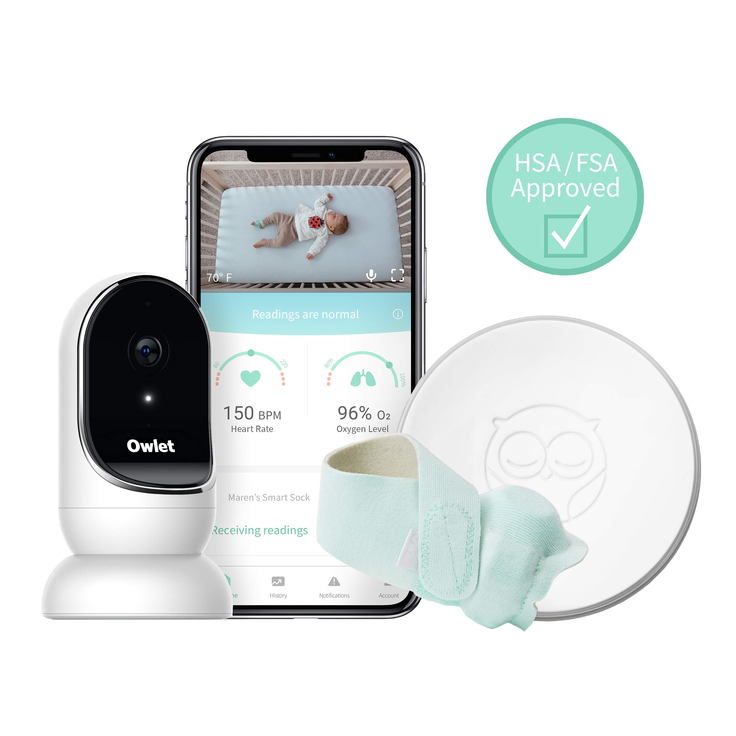 Owlet Smart Sock + Cam - Heart Rate, Oxygen, Video & Audio - The Complete Baby Monitor Solution by Owlet (Image #1)