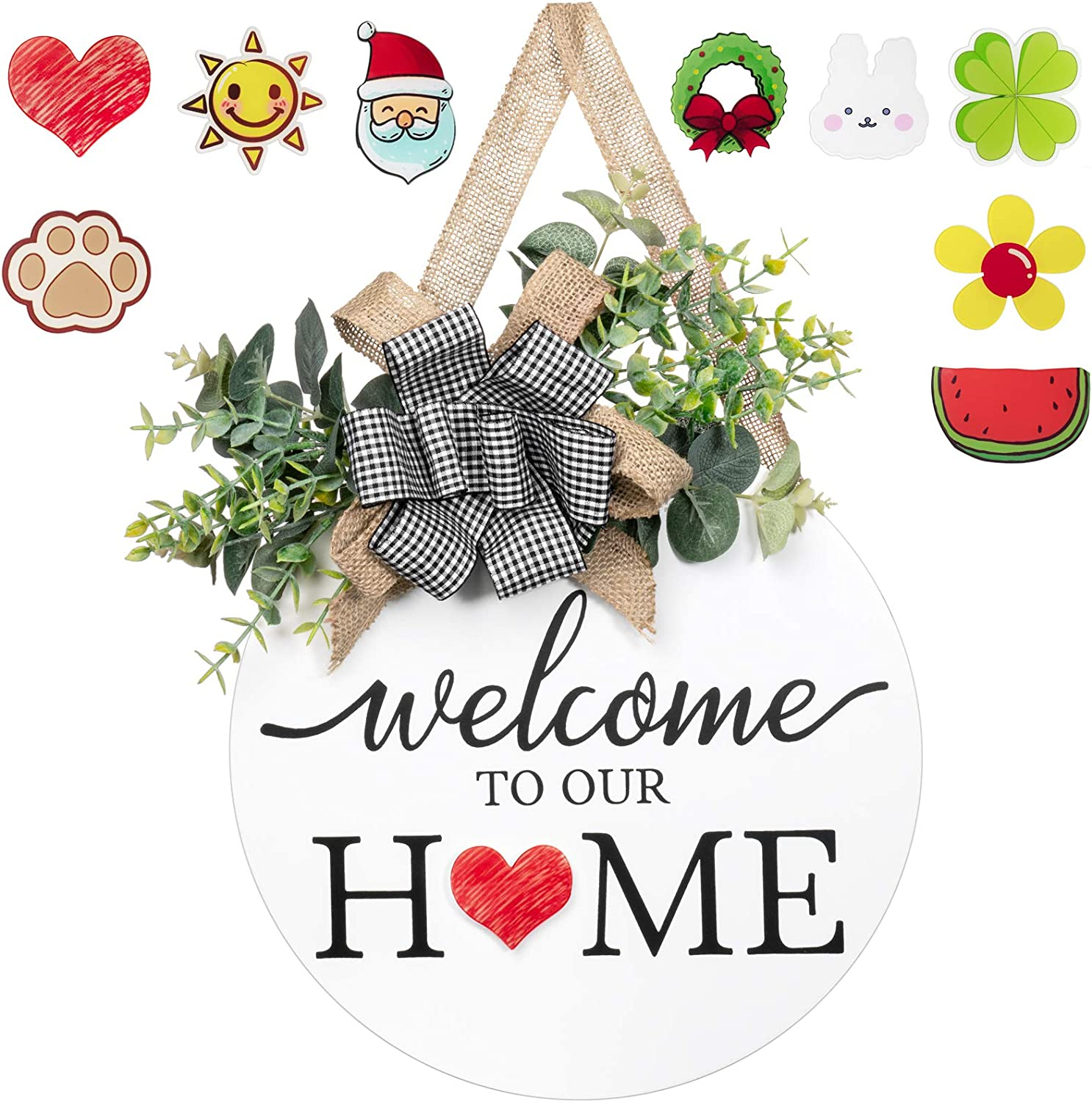Dahey Rustic Welcome Home Sign with Artificial Eucalyptus 8 Interchangeable Holiday Magnets Front Door Decor Round Wood Hanging Sign Farmhouse Porch Decorations for Home Outdoor Indoor, White