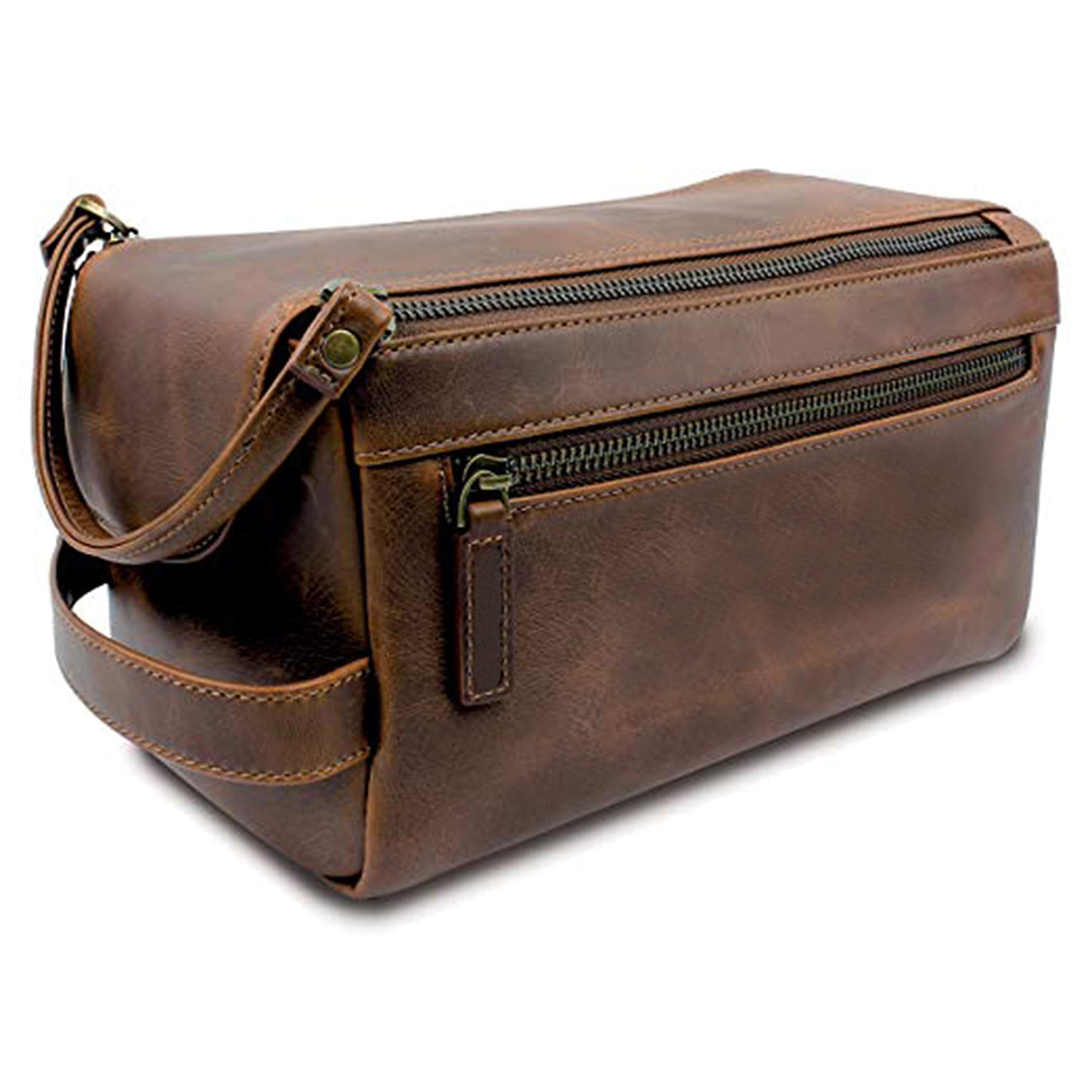 Genuine Buffalo Leather Unisex Toiletry Bag Travel Dopp Kit Grooming and Shaving Kit ~ for Men Women ~ Hanging Zippered Cosmetic Pouch ~ Bathroom Makeup Case