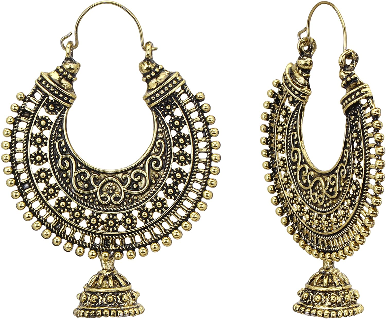 silver blue turquoise orange statement hook earrings Bohemian tribal gold