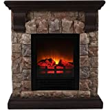 OK Lighting Portable Fireplace with Faux Stone Dark, Small